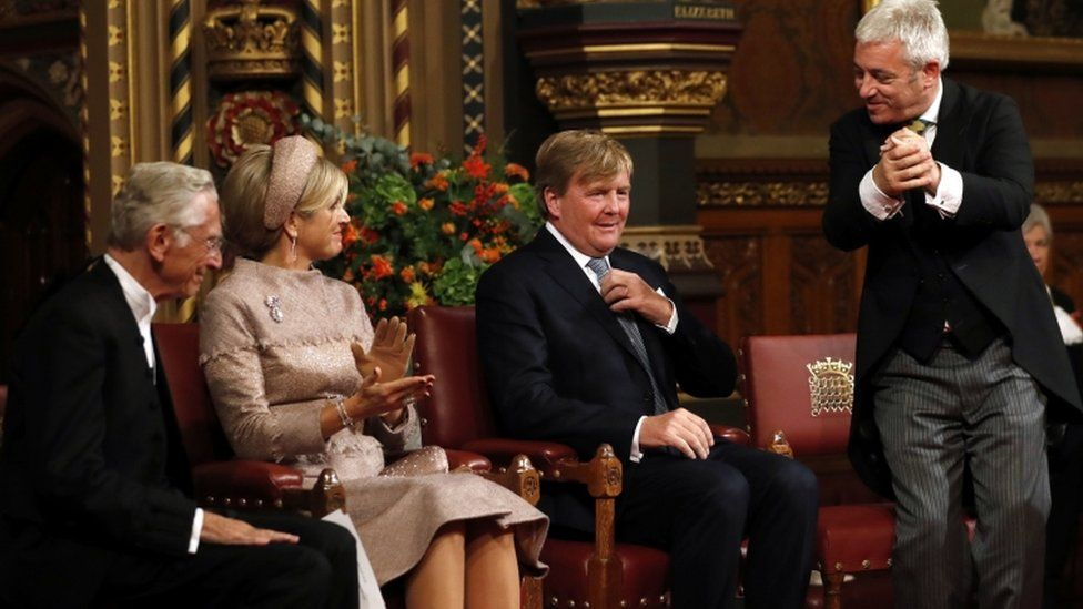 Mr Bercow with the current Dutch monarch, King Willem-Alexander, and his wife, Queen Maxima. King Willem-Alexander is descended from a cousin of William III, whose seizure of the English throne led to the Bill of Rights.