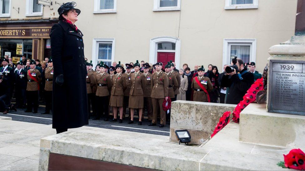 DUP leader Arlene Foster lays a wreath at the Enniskillen Cenotaph during Remembrance Sunday in Enniskillen, County Fermanagh, on the 100th anniversary of the signing of the Armistice which marked the end of World War One.