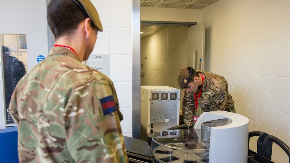 Soldiers from the Coldstream Guards have delivered testing equipment