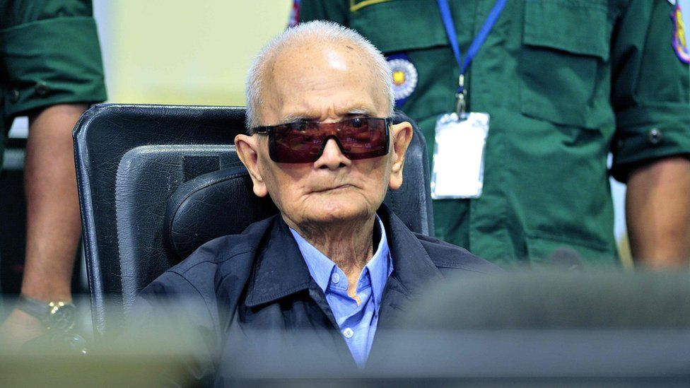 Nuon Chea appearing in court in 2018