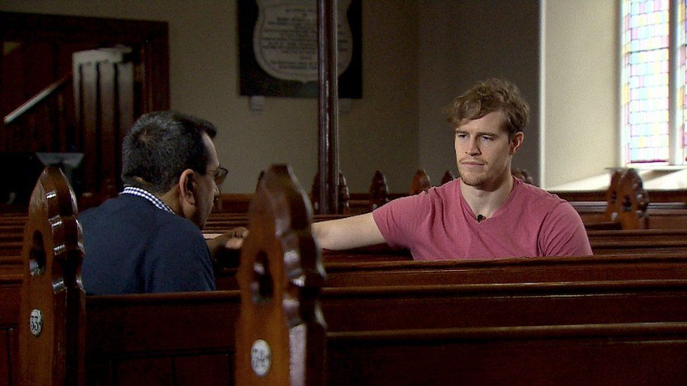 Andrew Trimble speaks to Martin Bashir inside Ballyalbany Presbyterian Church