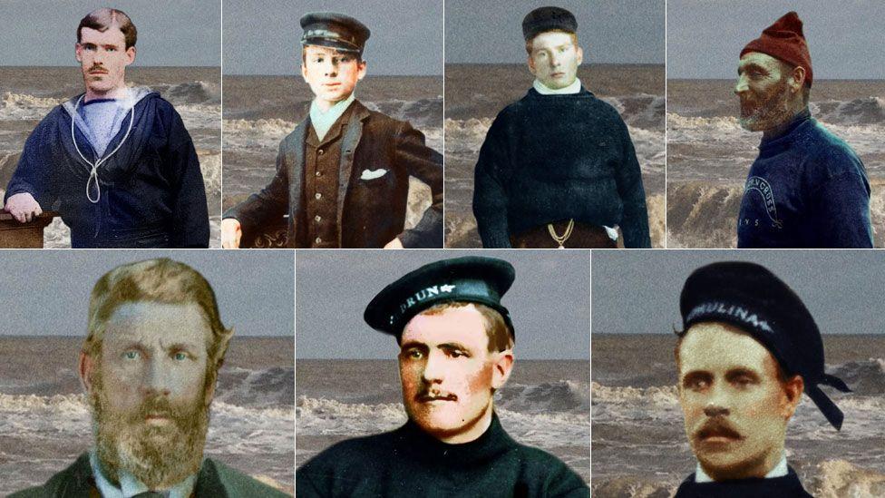 Clockwise from top left, Tom Morris, Herbert Downing, James Miller Ward, Jack Butcher, Walter Ward, Jack Easter and Charles Crisp
