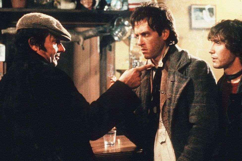 Jake the poacher (Michael Elphick) warns Withnail and Marwood