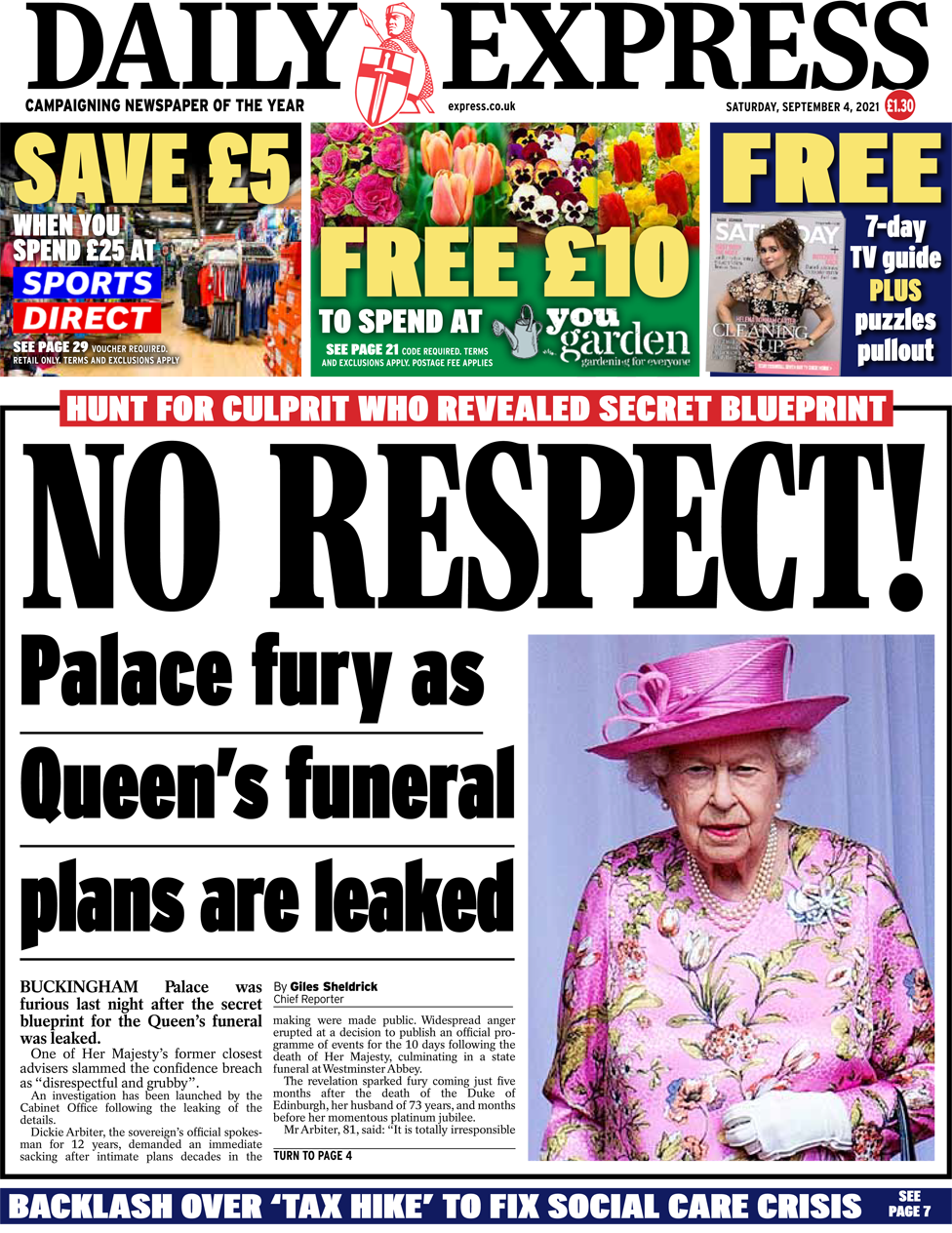 The Daily Express front page 4 September 2021