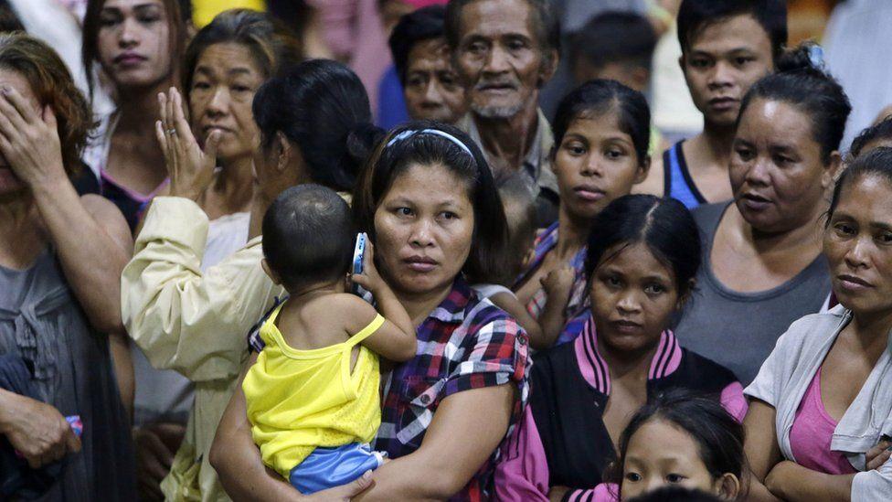 Evacuees in the Philippines during Typhoon Kippu