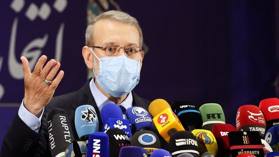 Ali Larijani speaks at a news conference in Tehran, Iran (15 May 2021)