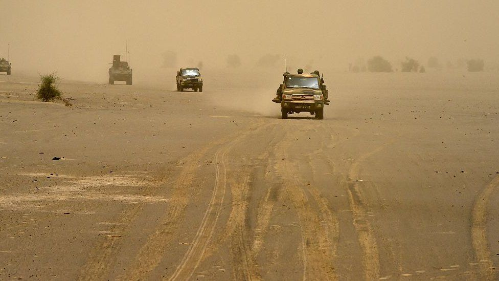 Vehicles carrying French and Malian soldier in the northern Timbuktu region of Mali - 2015