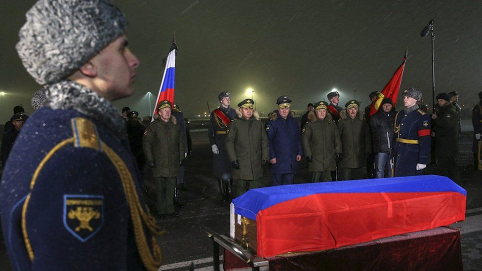 The body of Lt Col Oleg Peshkov arriving at a military airport near Moscow