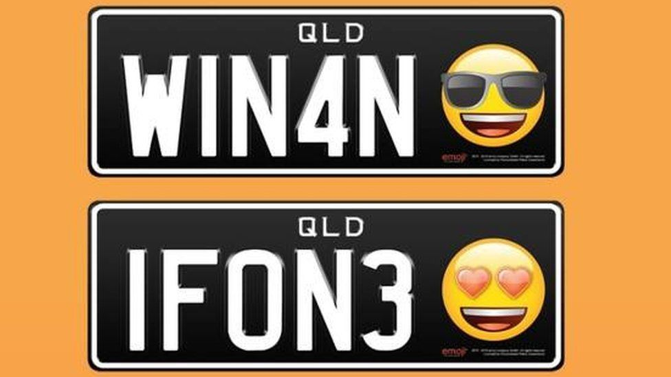 Number plates with emojis