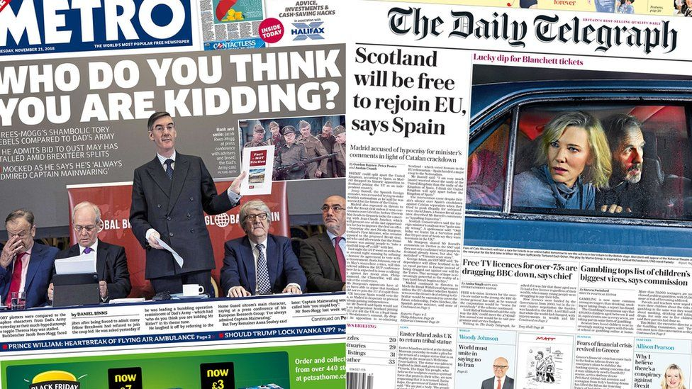 Composite image showing Metro and Telegraph front pages
