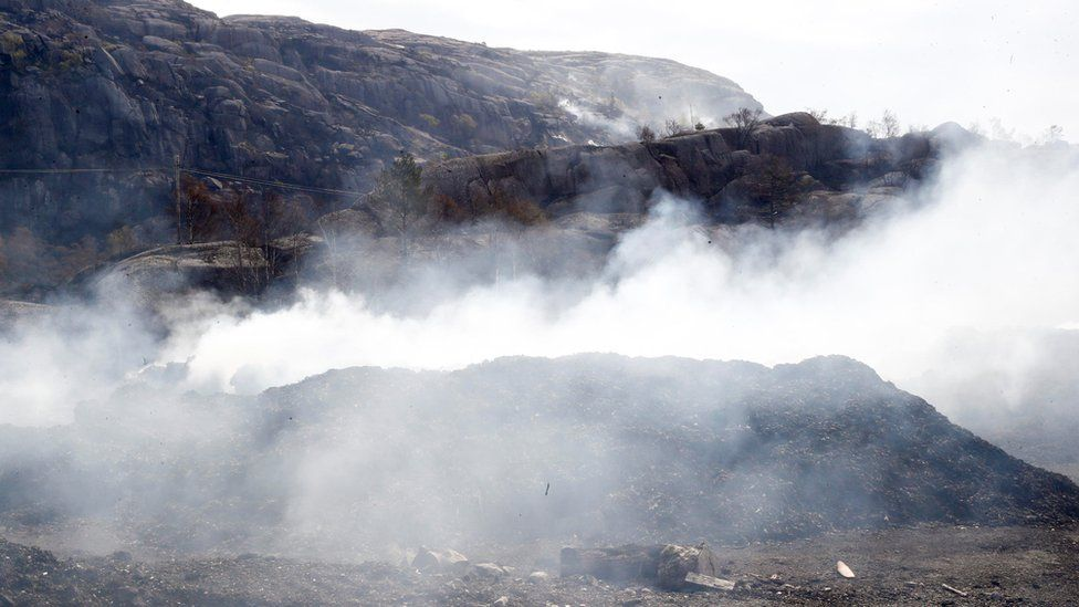 Smoke is seen in a damaged forest area after a fire in Sokndal, Norway, April 24, 2019.