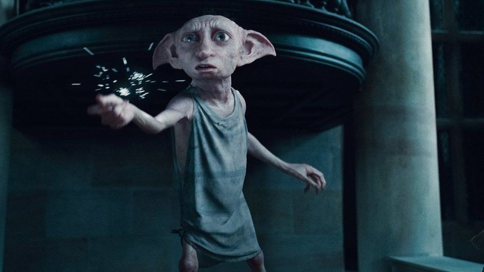 """In this film publicity image released by Warner Bros. Pictures, the character Dobby, voiced by Toby Jones is shown in a scene from, """"Harry Potter and the Deathly Hallows: Part 1."""""""