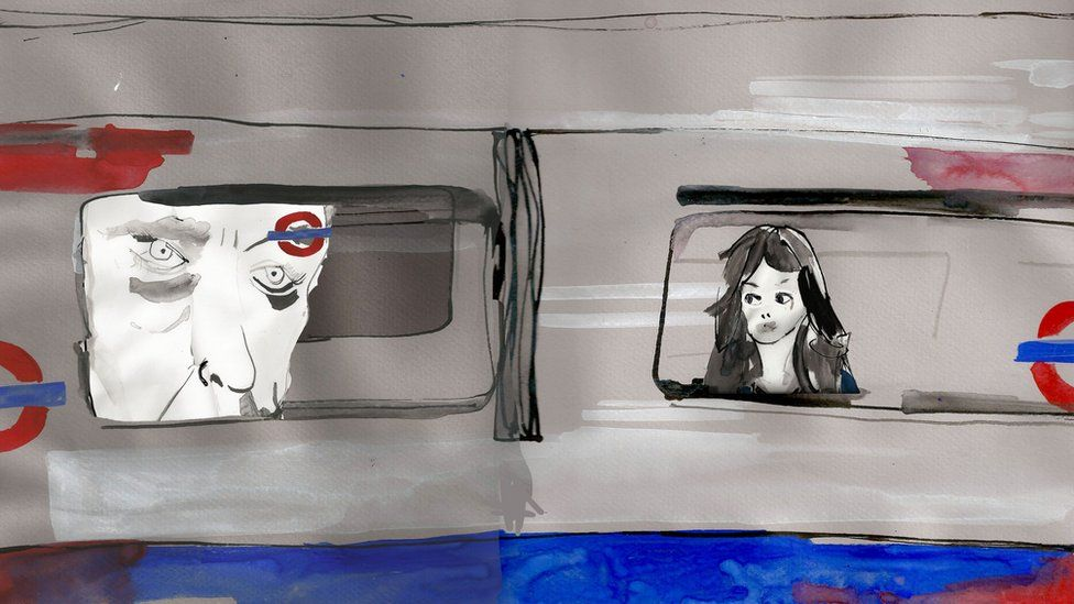 Illustration of a girl sat on a Tube looking out the window and with the image of a face staring at her in the next window