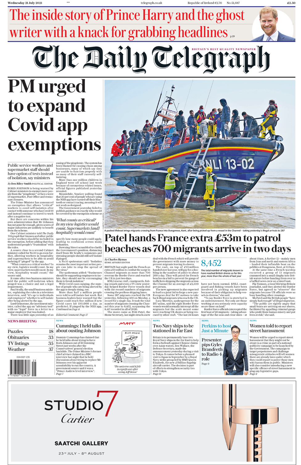 Daily Telegraph front page 21/07/21