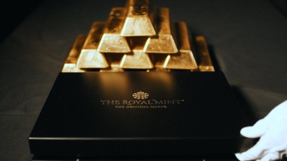 Gold bars at The Royal Mint