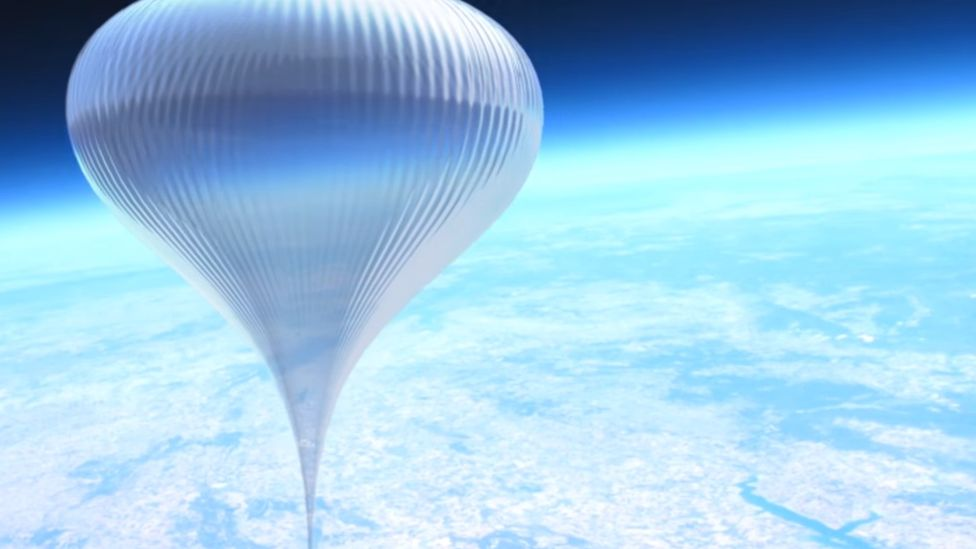 An artist's impression of the balloon high above earth