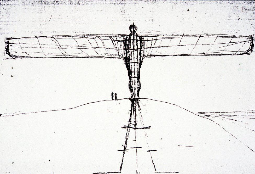 Antony Gormley sketch of the angel