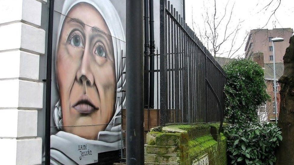 Mural of Lady Julian in Norwich painted by Antony Allen in January 2020