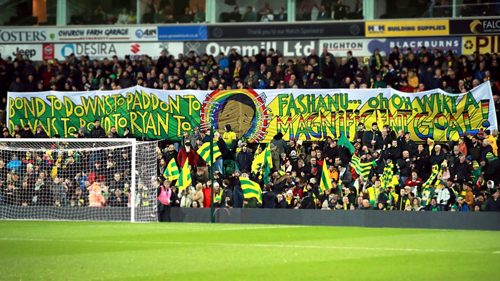 """Banner in tribute to Justin Fashanu's """"magnificent goal"""" at Carrow Road in 1980"""