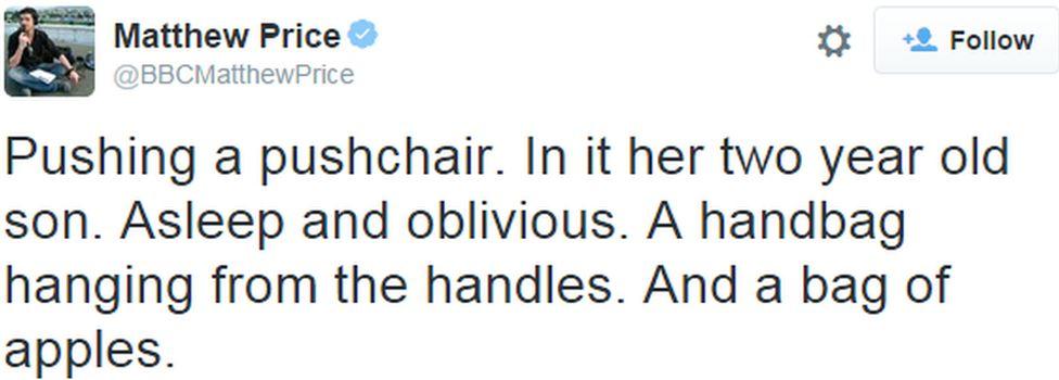 A tweet from the BBC's Matthew Price