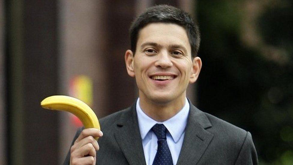 David Miliband with a banana