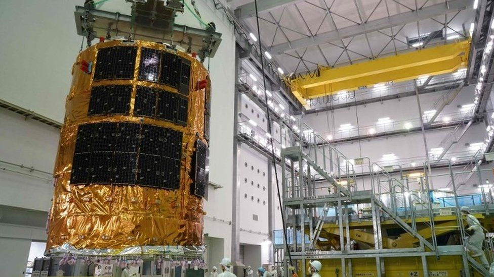 """The HTV6, an unmanned cargo spacecraft, """"Kounotori"""", or """"stork"""" in Japanese, being assembled at the Tanegashima Space Center in Tanegashima island (July 2016)"""