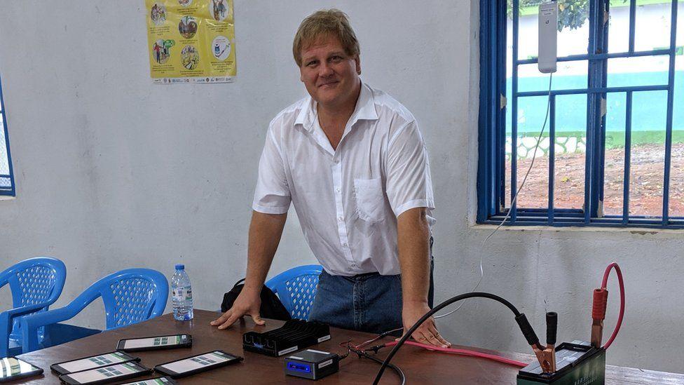 Ivan Gayton in an Ebola centre