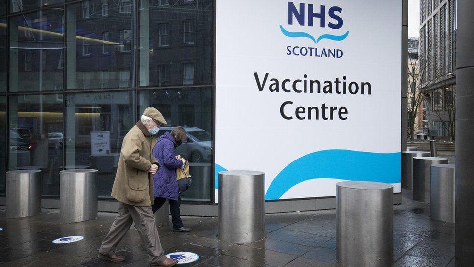 The main entrance to the coronavirus mass vaccine centre at the Edinburgh International Conference Centre