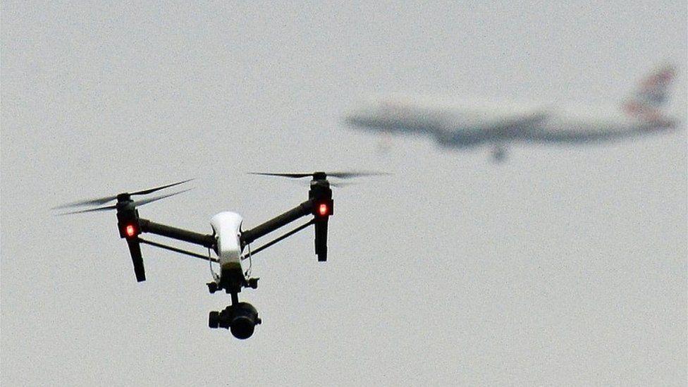 A drone flying near an aircraft