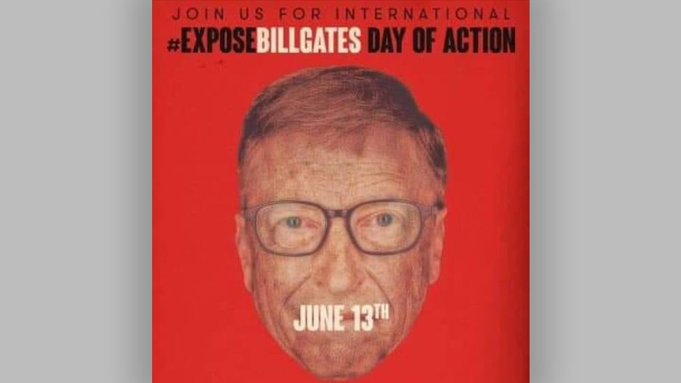 """A graphic of Bill Gates saying """"Expose Bill Gates day of action"""""""