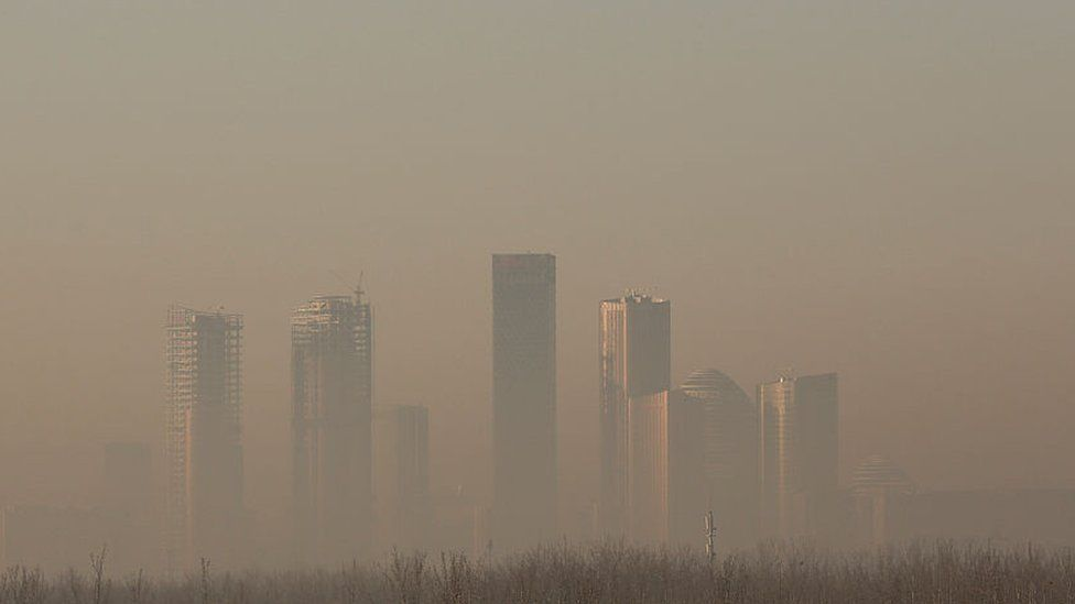Buildings in Beijing's central business district shrouded in heavy smog