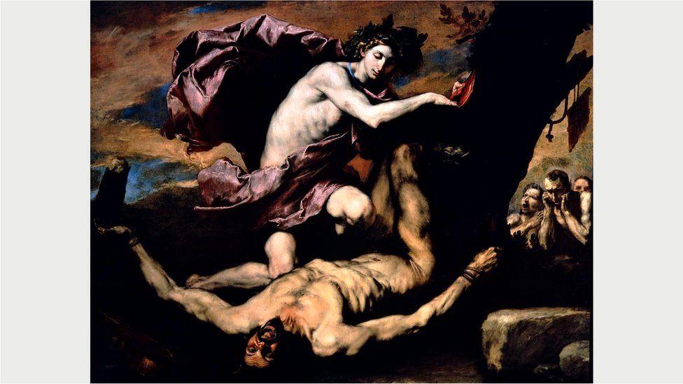 "Любимая тема де Риберы - сдирание кожи заживо - отражена в холсте ""Аполлон и Марсий"""