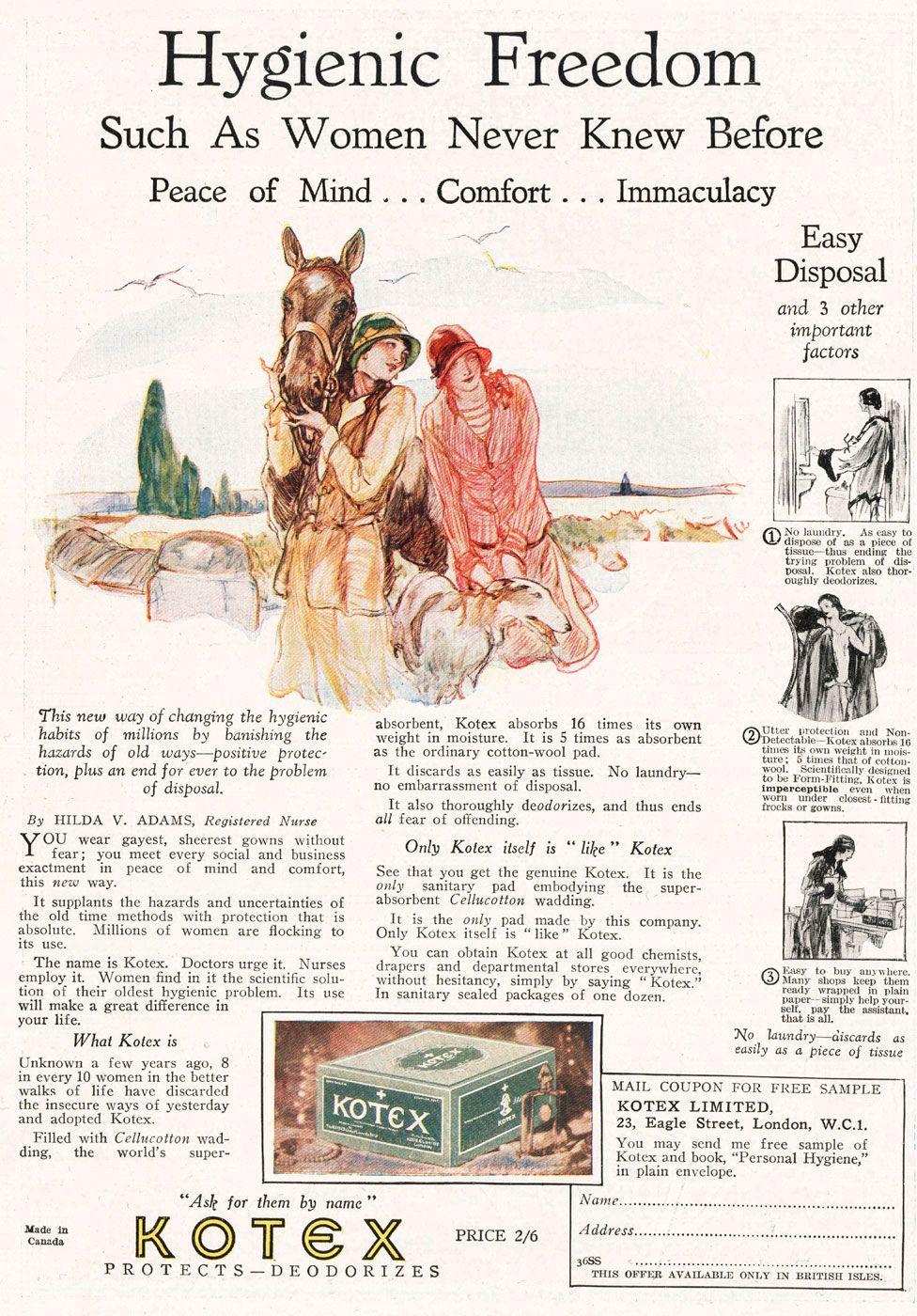 Kotex advert from 1928