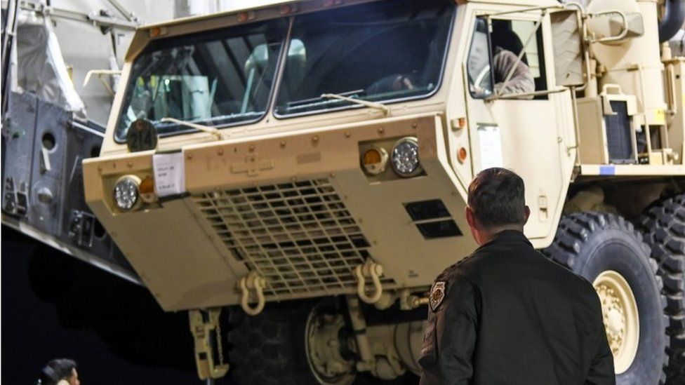 Parts of the Thaad system arrive at Osan Air Base in Pyeongtaek, South Korea (7 March 2017)