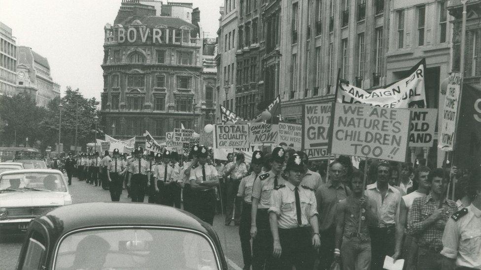 Gay Pride rally London 1974