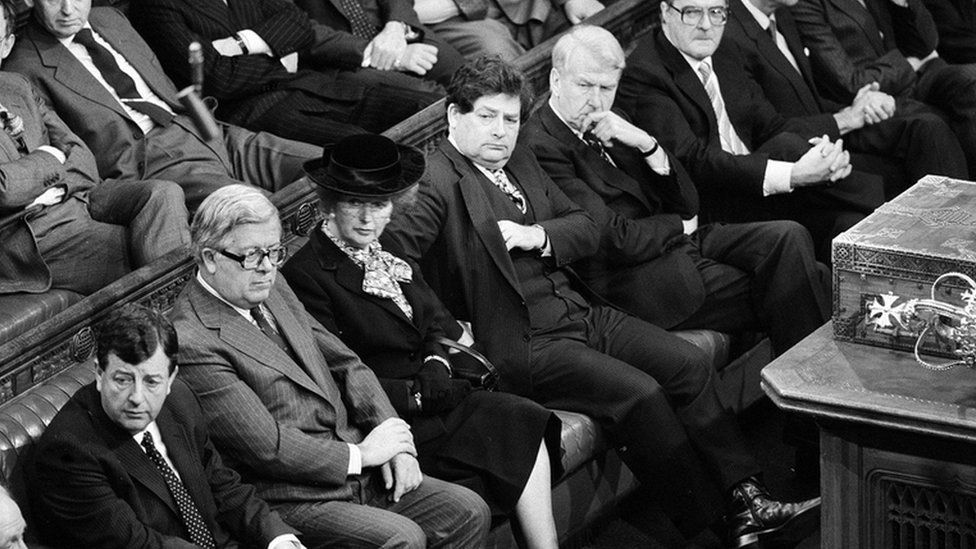 Margaret Thatcher and her cabinet on the government front bench in the House of Commons, 12 November 1986