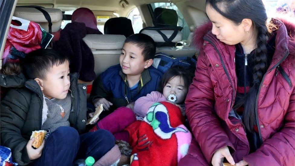 ungan refugees leave the village of Bular-Batyr after ethnic clashes between Kazakhs and Dungans, some 250 km from Almaty, Kazakhstan, 08 February 2020.