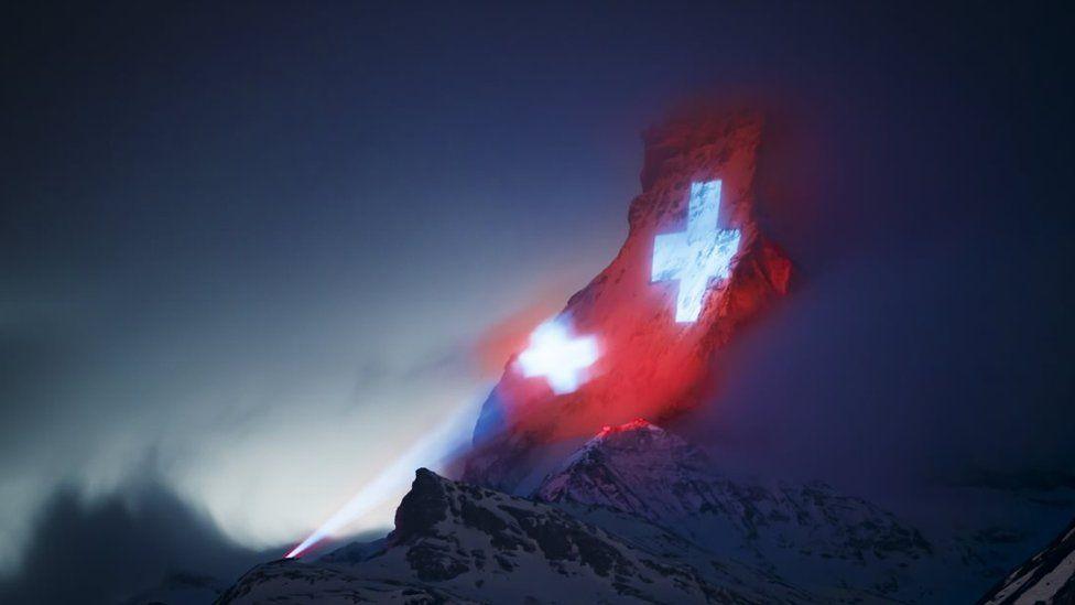 Swiss flag on Matterhorn
