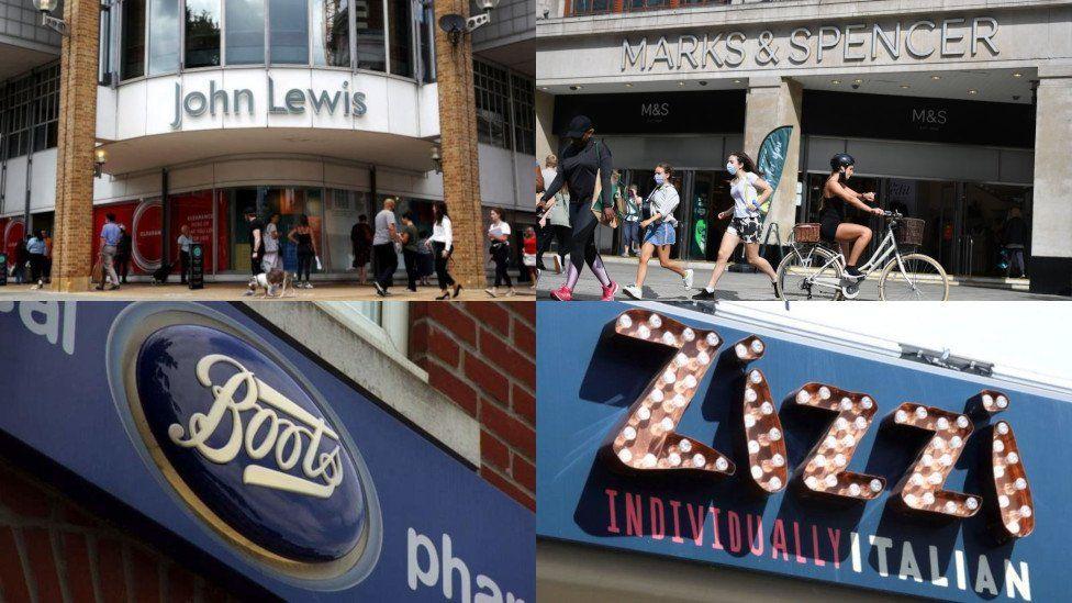 John Lewis, Marks & Spencer, Boots and Zizzi logos