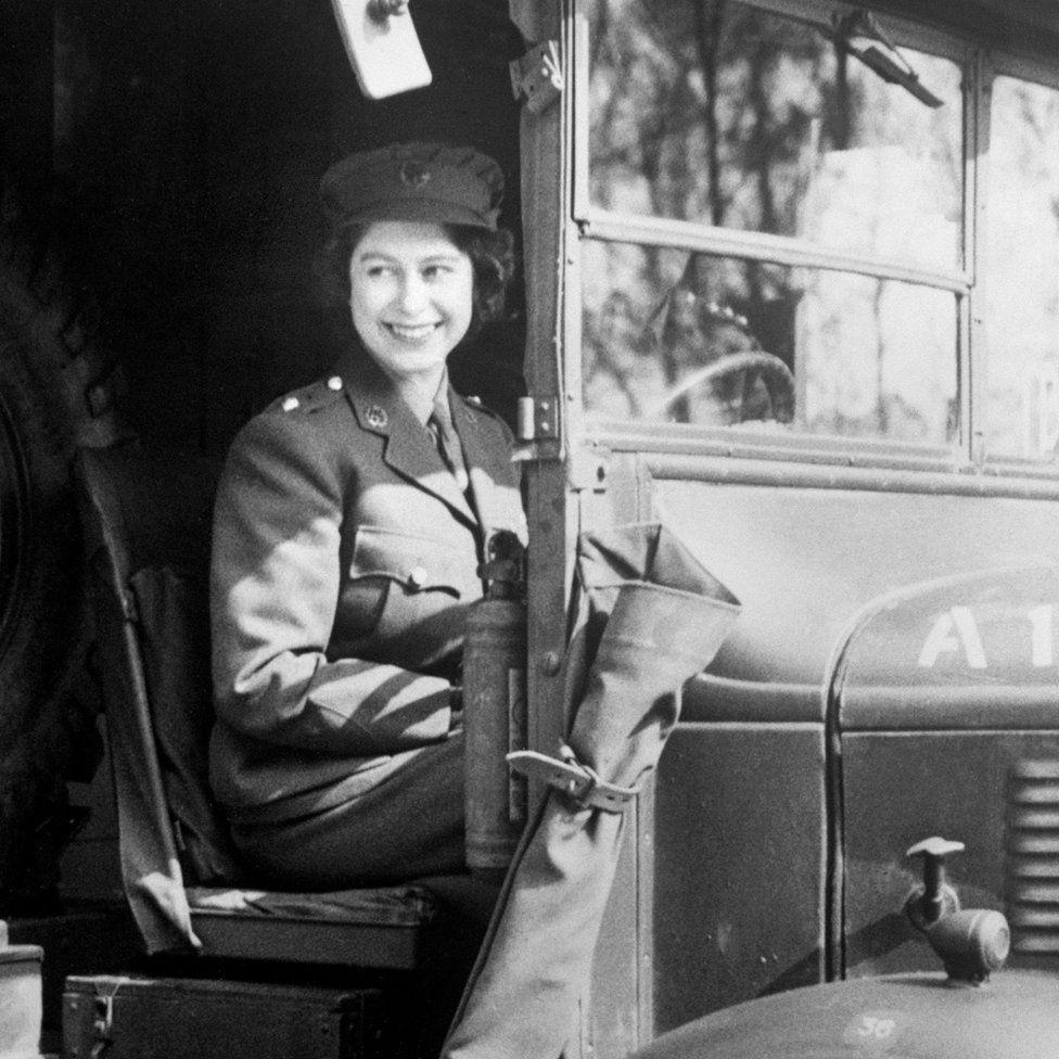 Princess Elizabeth (now Queen Elizabeth II) at the wheel of an Army vehicle