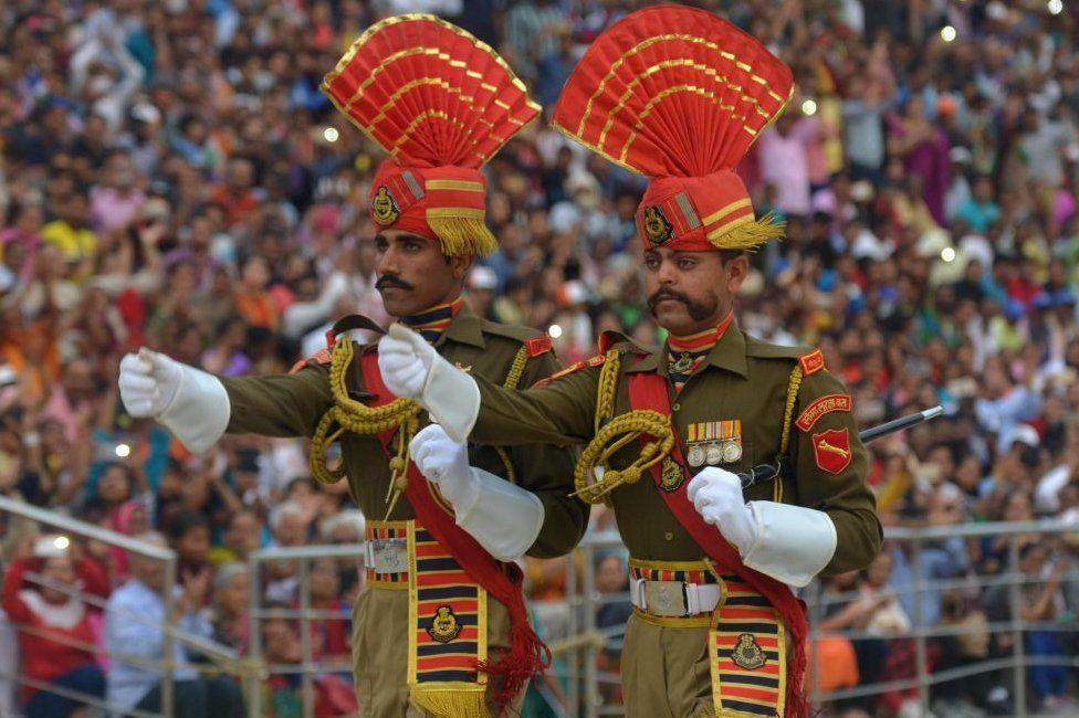 The daily closing ceremony at the India-Pakistan Wagah border crossing near Amritsar.