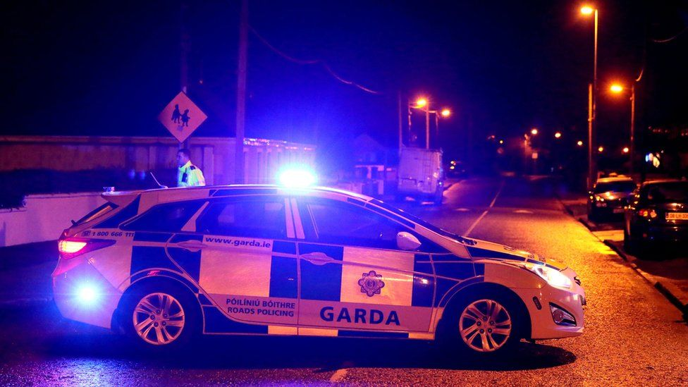 A Garda car at the scene of the shooting