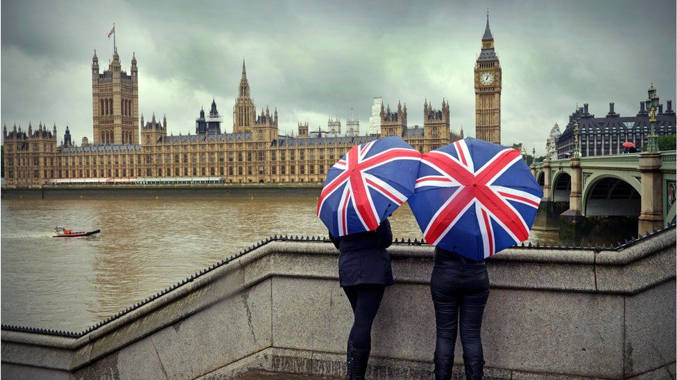 Two people viewing Parliament with union jack umbrellas