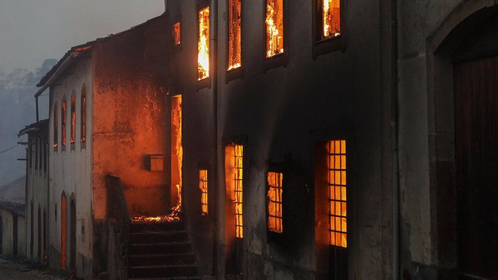 A house burns in Moinhos village, Lousa, Portugal 15/10/2017