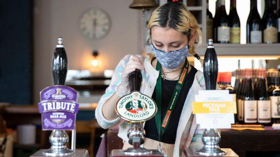 A pub during summer coronavirus reopening