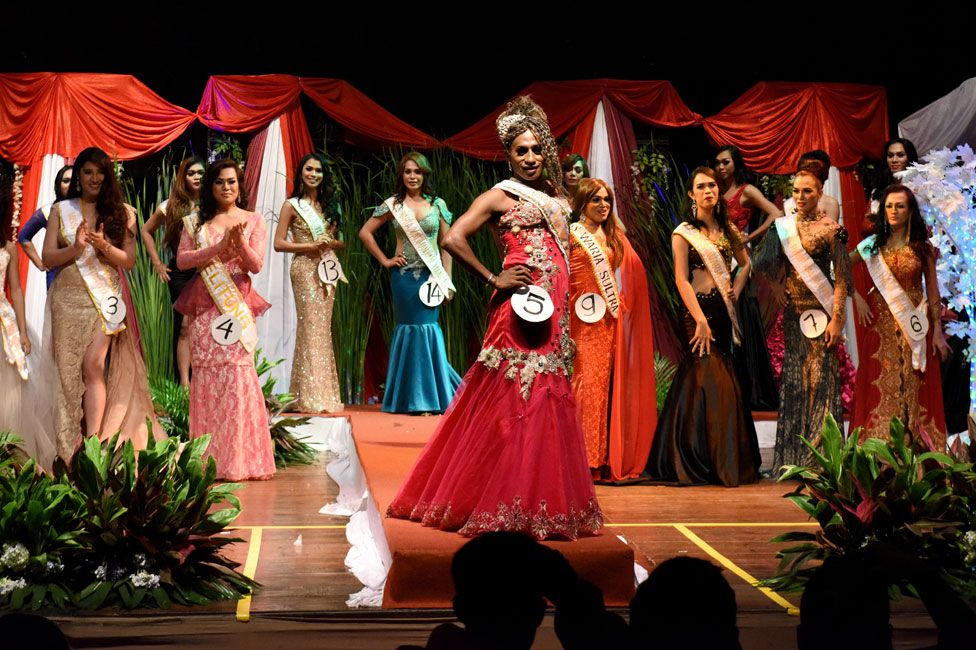 Contestants at Miss Waria Indonesia on stage