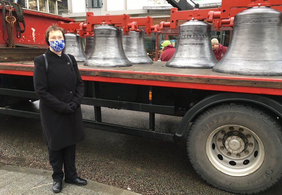 The Reverend Heidi Huntley with the recast bells