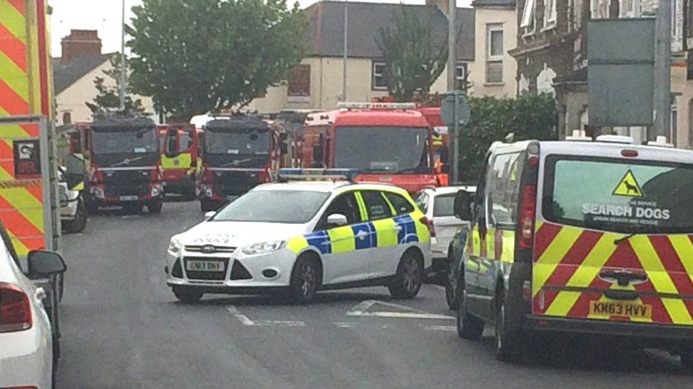 Emergency services at the scene in Splott
