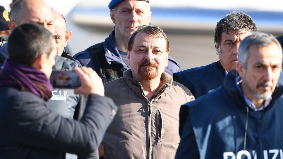 Cesare Battisti arriving in Rome