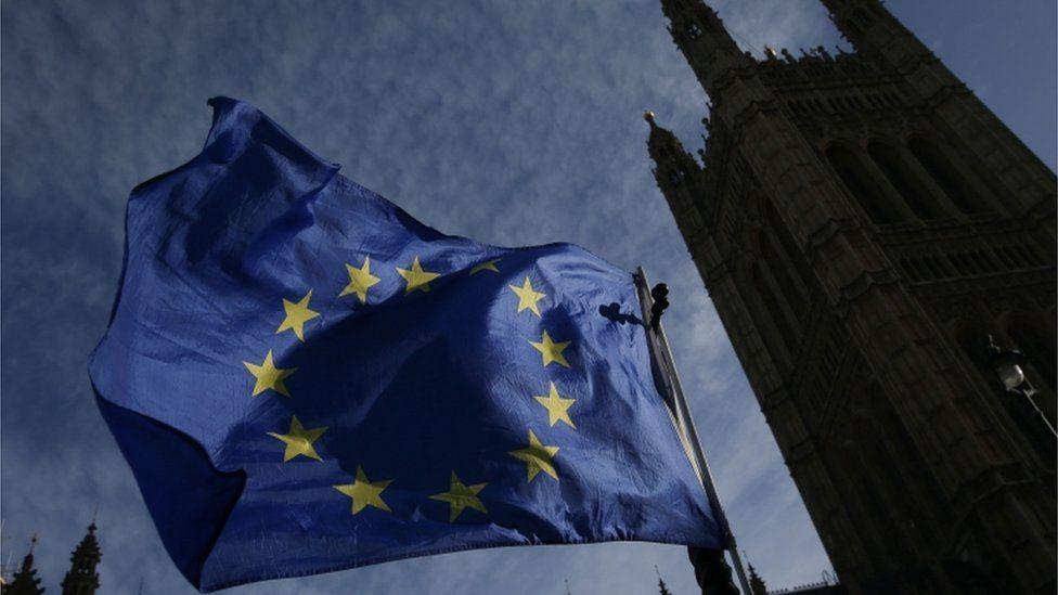 EU flag outside UK Parliament